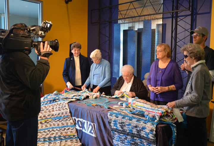 Sisters in St. Louis were interviewed for Fox 2 News for their work creating mats for the homeless.