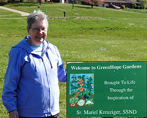 Sister Muriel Kreuziger at the dedication of the Green Hope Garden in May 2012.