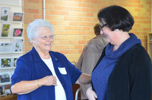 Sister Dorez Merhtens greets Associate Ann Kramer at the Mass of Appreciation in Chatawa, Mississippi.