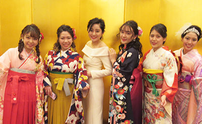 Students dressed in their traditional Japense kimono for graduation from Kyoto University in Japan.