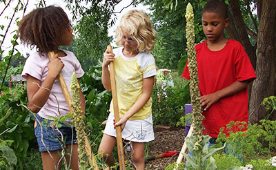 Three kids during summer camp at the Living Earth Center, located at Our Lady of Good Counsel in Mankato, Minnesota.