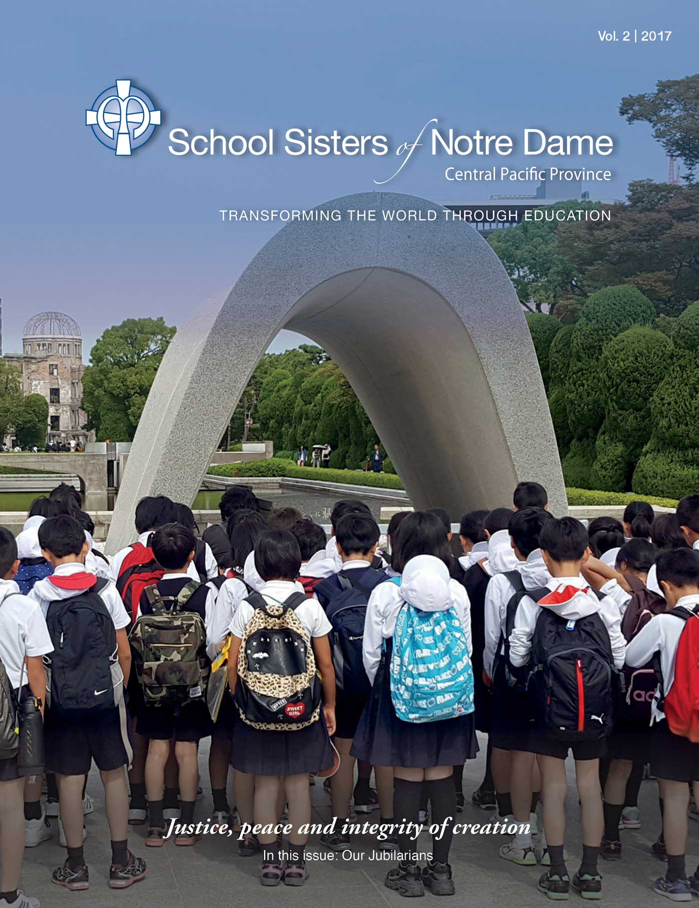 ON THE COVER: Students gather around the Cenotaph at Hiroshima Peace Memorial Park in Naka Ward, Hiroshima.