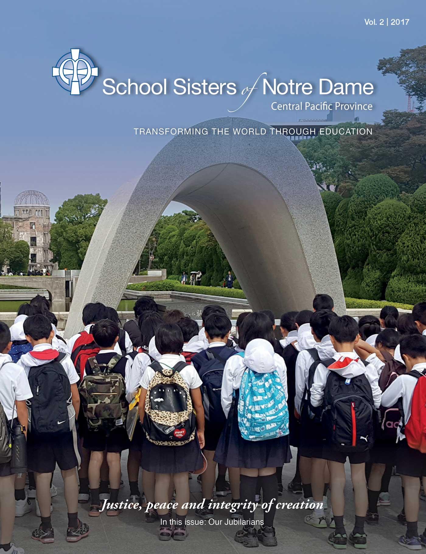 ON THE COVER: Students gather around the Cenotaph at Hiroshima Peace Memorial Park in Naka Ward, Hiroshima.