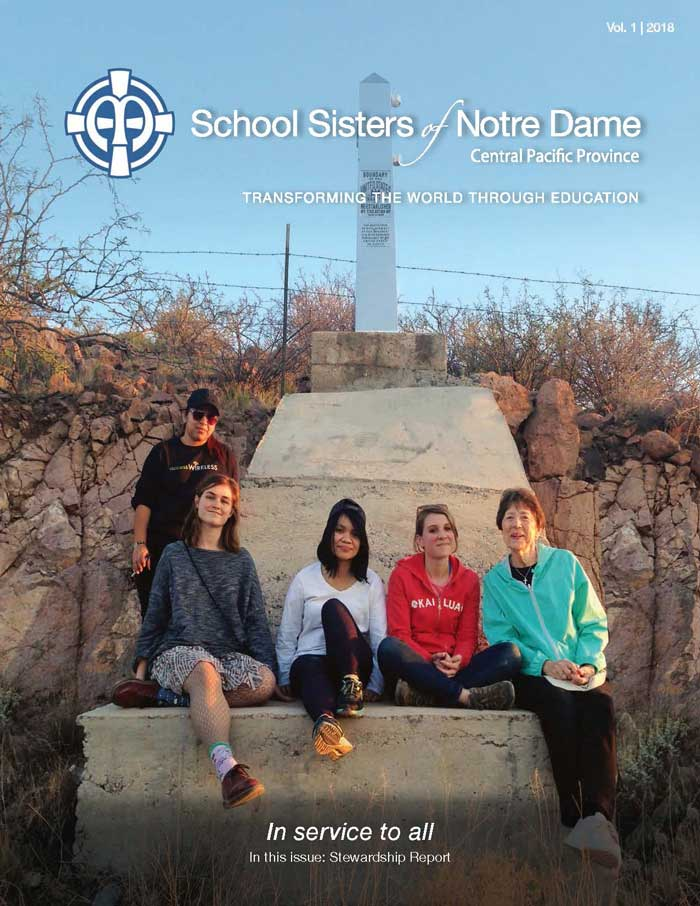 ON THE COVER: Students from Notre Dame of Maryland University (NDMU) spent time with School Sisters of Notre Dame in Arizona who minister on the U.S.-Mexico border.