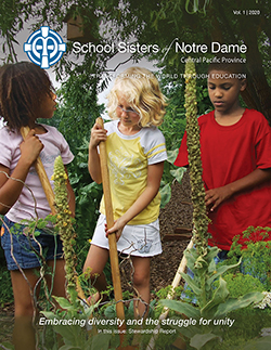 The SSND Newsletter Vol. 1 2020's cover contains the Little Sprouts Class of the Living Earth Center, Mankato, Minnesota. Photo provided by the Living Earth Center and Laura Peterson.