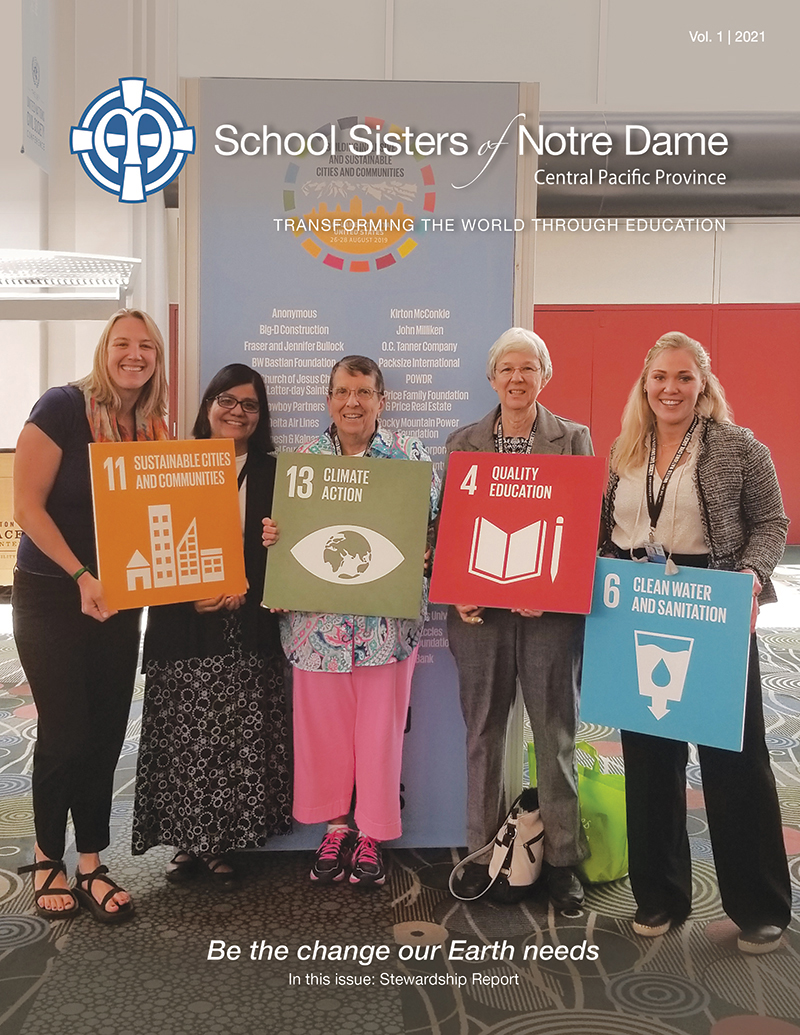 The SSND Newsletter Vol. 1 2021's cover shows sisters and staff that attended the 68th United Nations Civil Society Conference in Salt Lake City, Utah.