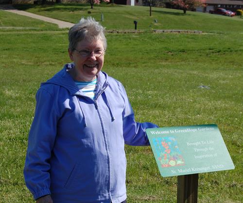 Sister Mariel Kreuziger at the dedication of the garden May 2012