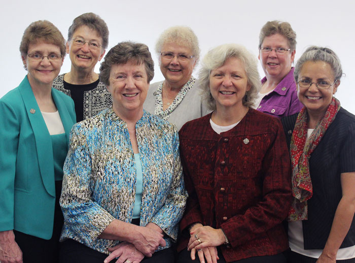 Back (l-r): Sisters Laura Jean Spaeth, Susan Jordan, Kathleen Bauer. Front (l-r): Sisters Marjorie Klein, Mary Anne Owens, provincial leader, Anna Marie Reha, Christine Garcia