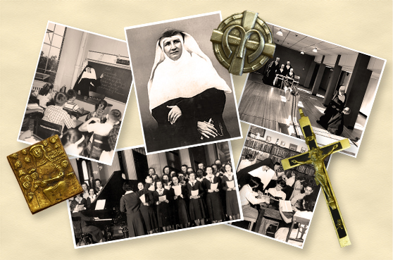 Collage of historical photographs commemorating the opening of the SSND North American Archives.