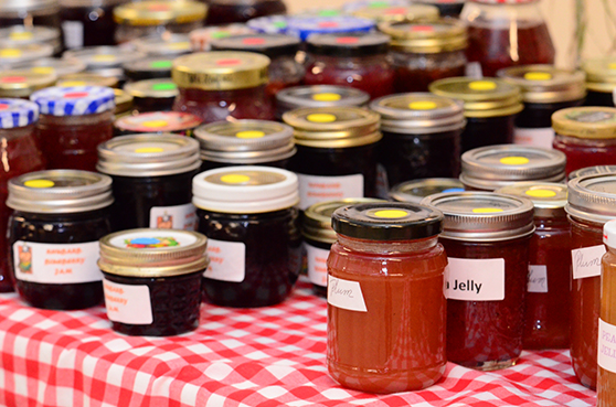 Assorted jams and jellies sold at the annual Craft Fair and Garage Sale.