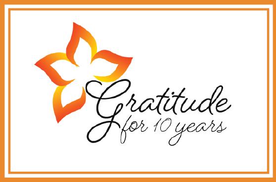 10th Anniversary logo - Gratitude for 10 years.
