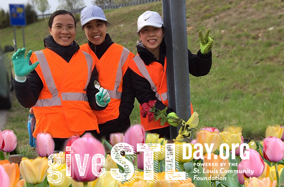 Three visiting sisters to Sancta Maria in Ripa in St. Louis volunteered to pick up trash in the SSND adopt-a-highway section. The image also includes the Give STL Day logo.