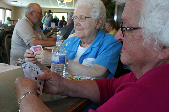 Guests enjoying a round of 500 at our annual Golf Tournament and Card Party held at Daytona Golf Course in Dayton, MN
