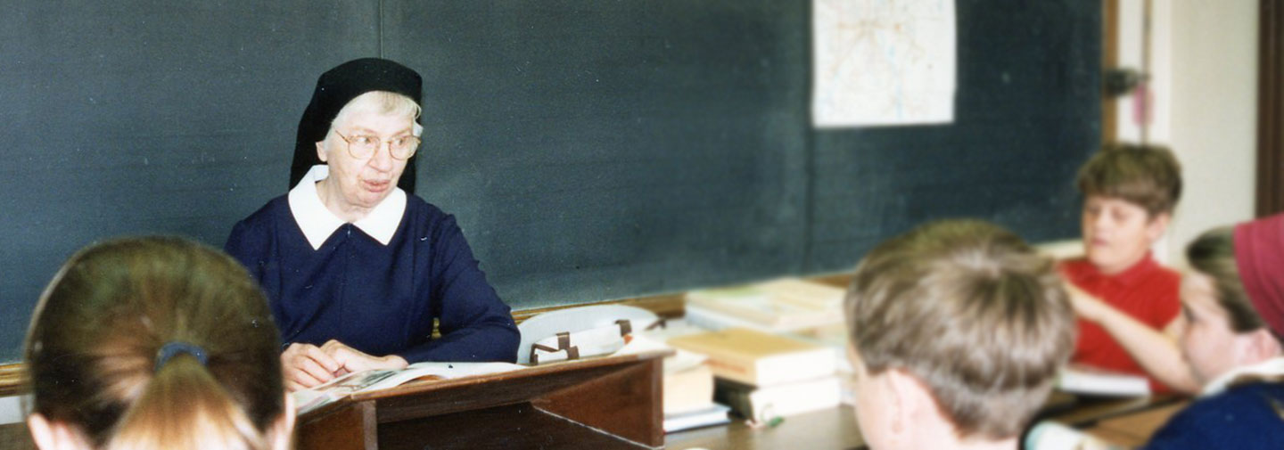 SSND has been St. Francis de Sales in St. Paul, Minnesota, since 1884. This photo is of a sister in the classroom in the 1990s.