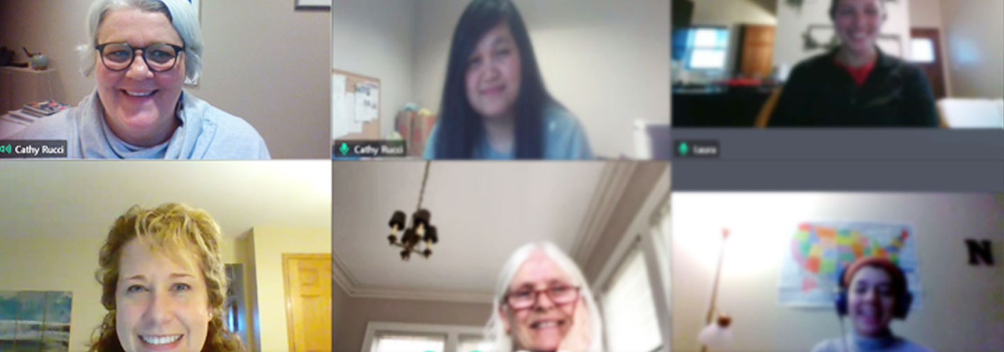 Staff members at MORE in St. Paul, Minnesota, gather weekly for a staff meeting through virtual meetings during COVID-19.