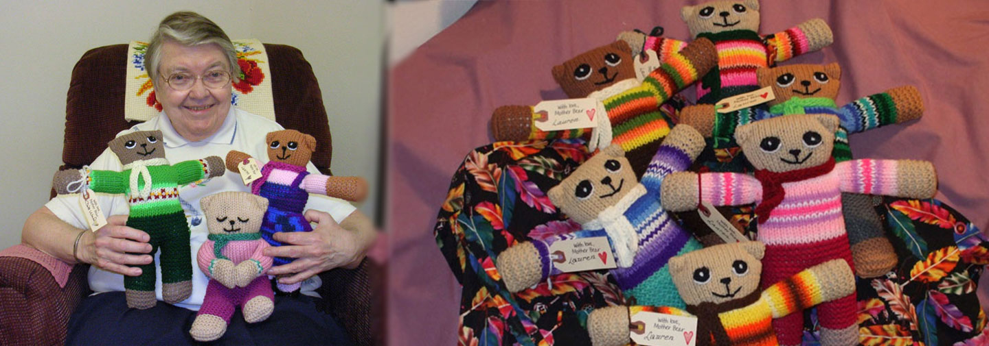 Sister Lauren Spence has created thousands of bears for children in Africa.