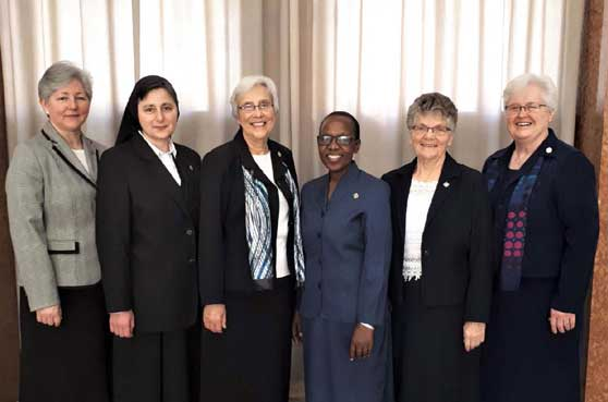 The newly installed General Council: Sisters Irmã Inês Camiran, Councilor/Vicar; Sestra M. Martina Radež, Councilor; Roxanne Schares, General Superior; Carolyn Anyega, Councilor; Julianne Lattner, Councilor; Kathleen Storms, Councilor