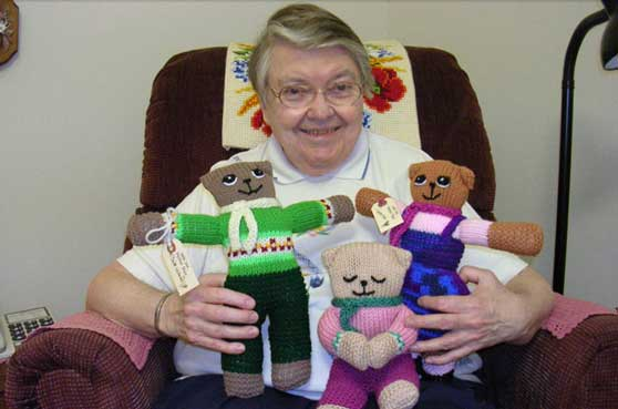 Featured Sister Lauren Spence and her bears she created for children in Africa.
