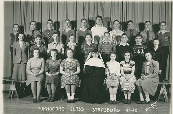 Sister Bernardia  and the sophomore class of 1948 at St. Benedict, Strasburg, North Dakota.