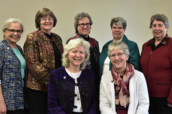 Newly Elected Central Pacific Province Provincial Council. Front row (l-r): Sisters Anna Marie Reha (Vicar) and Helen Jane Jaeb. Back row (l-r): Sisters Christine Garcia, Mary Kay Brooks, Debra Marie Sciano (Provincial Leader), Dawn Achs, and Lynne Schmid