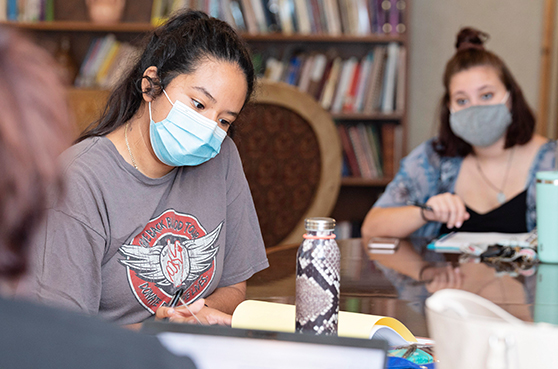 Mount Mary University in Milwaukee studnets wearing masks in class.