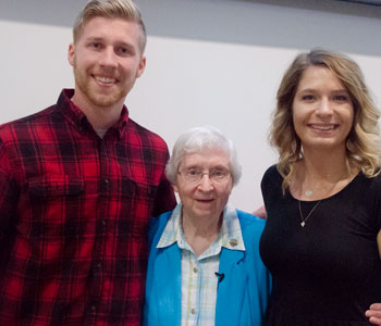 Sister Carol Marie Wildt with Leia and Ben at SIU Carbondale on April 1, 2019 for a presentation on Sister Mary Imma Josefa Mack.