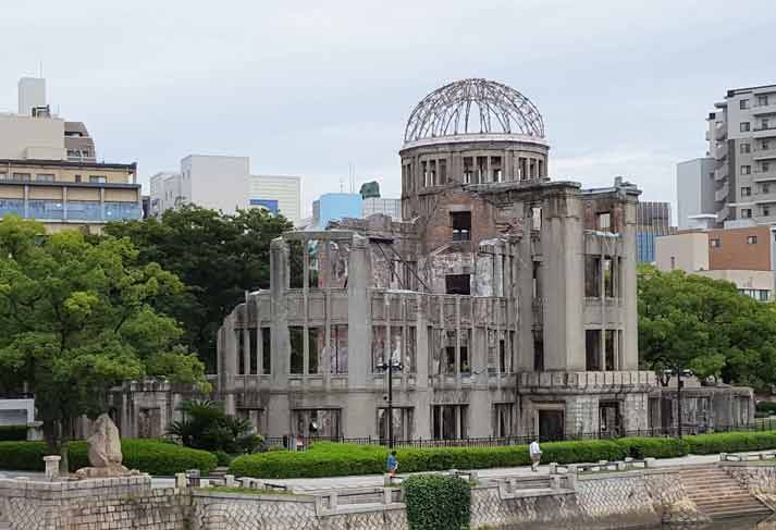 The A-Bomb Dome. At 8:15 a.m. on August 6, 1945, an atomic bomb dropped on Hiroshima by the United States Army Air Forces exploded 600 meters above the ground about 160 meters southeast of the elliptical dome.