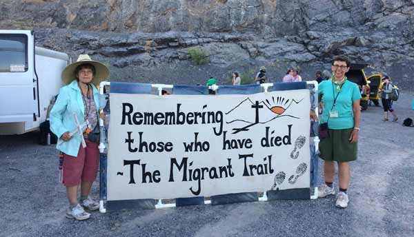 Sisters Lucy Nigh and Judy Bourg participated in a 75 Mile Migrant Trail Walk. Featured: Sisters Lucy Nigh and Judy Bourg.