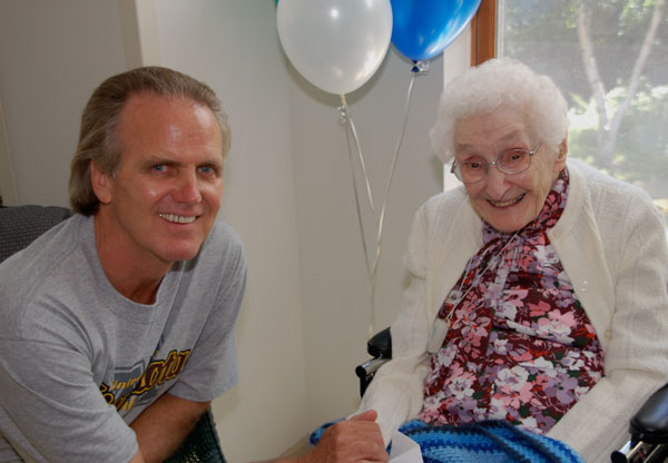 Dr. Snowdon with Sister Nicolette Welter, a Nun Study participant, at her birthday party. Photo was taken at OLGC.