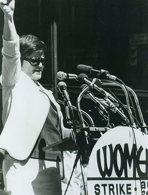 Sister Margaret Ellen Traxler speaking at a rally. Black and white image.