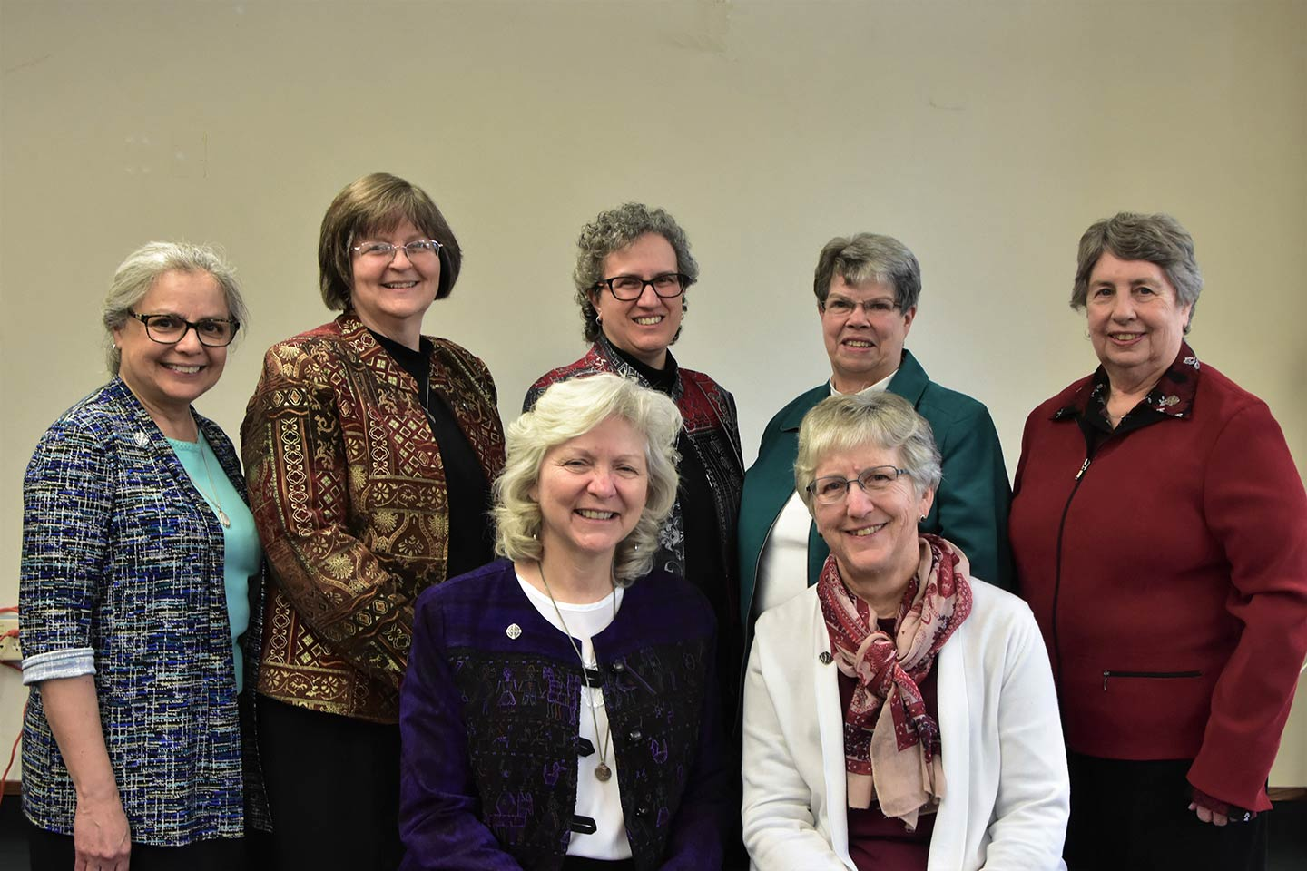 Newly Elected Central Pacific Province Provincial Council. Front row (l-r): Sisters Anna Marie Reha (Vicar) and Helen Jane Jaeb.<br>Back row (l-r): Sisters Christine Garcia, Mary Kay Brooks, Debra Marie Sciano (Provincial Leader), Dawn Achs, and Lynne Schmidt.