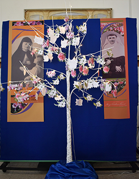 At the Celebration of Gratitude and Farewell to 145 Years of SSND Presence at Chatawa, sisters placed a memory on a tree.