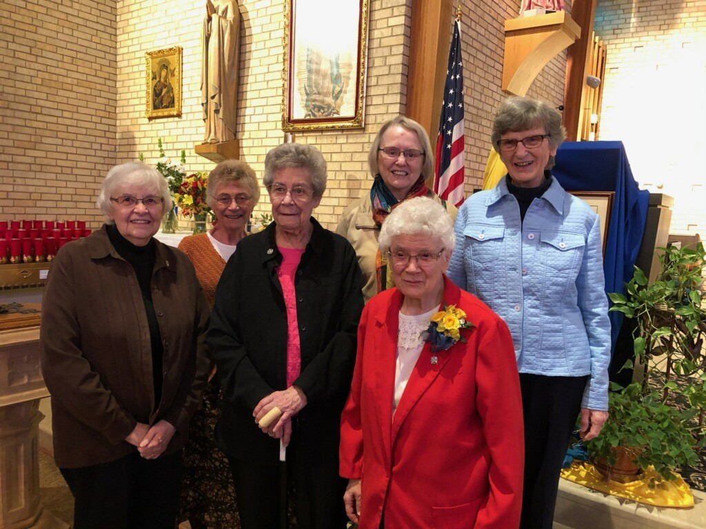 (L to R) Sisters Suzanne Eichler, Kathleen Mary Kiemen, Paulanne Gruber, Mary Anne Schaenzer, Yolanda Latessa, and Judy Bakula, School Sisters of Notre Dame from St. Francis de Sales Parish.