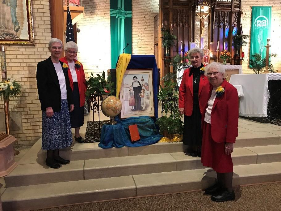 (L to R) Sisters Bernadette Welter, Yolanda Latessa, Veronica Horvat,  and Marjorie Rosenau in St. Francis de Sales Church.