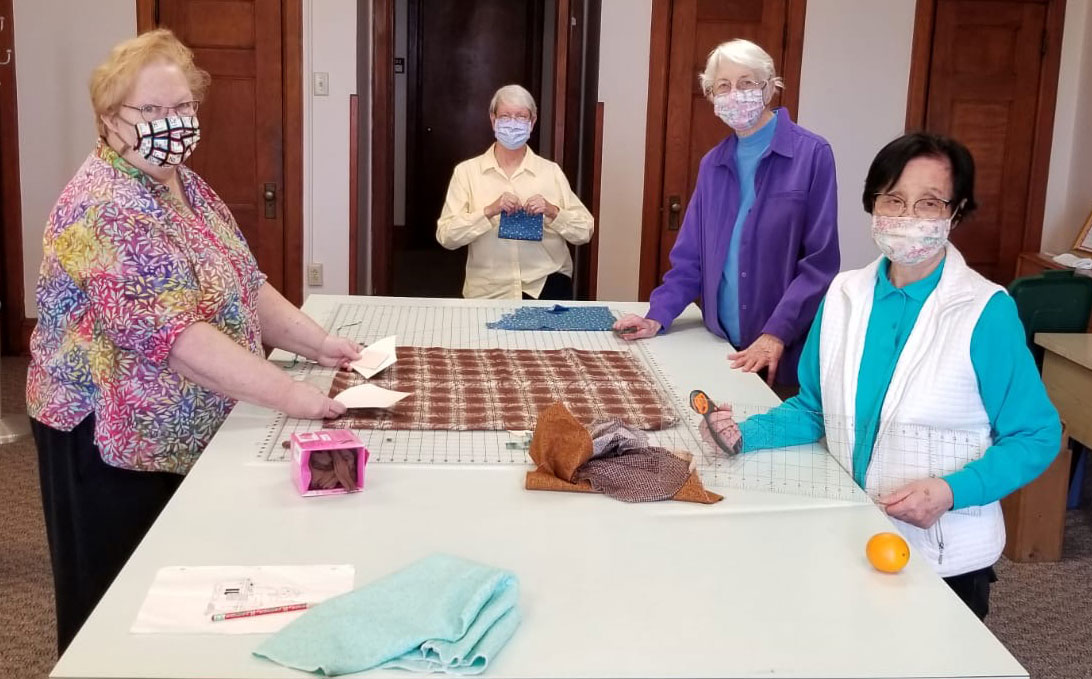 Sisters are gathering materials at Sancta Maria in Ripa in St. Louis in order to make masks for sisters and lay staff.