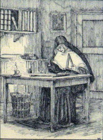 A drawing of Blessed Theresa during a time she was reviewing plans for a Motherhouse to be built.