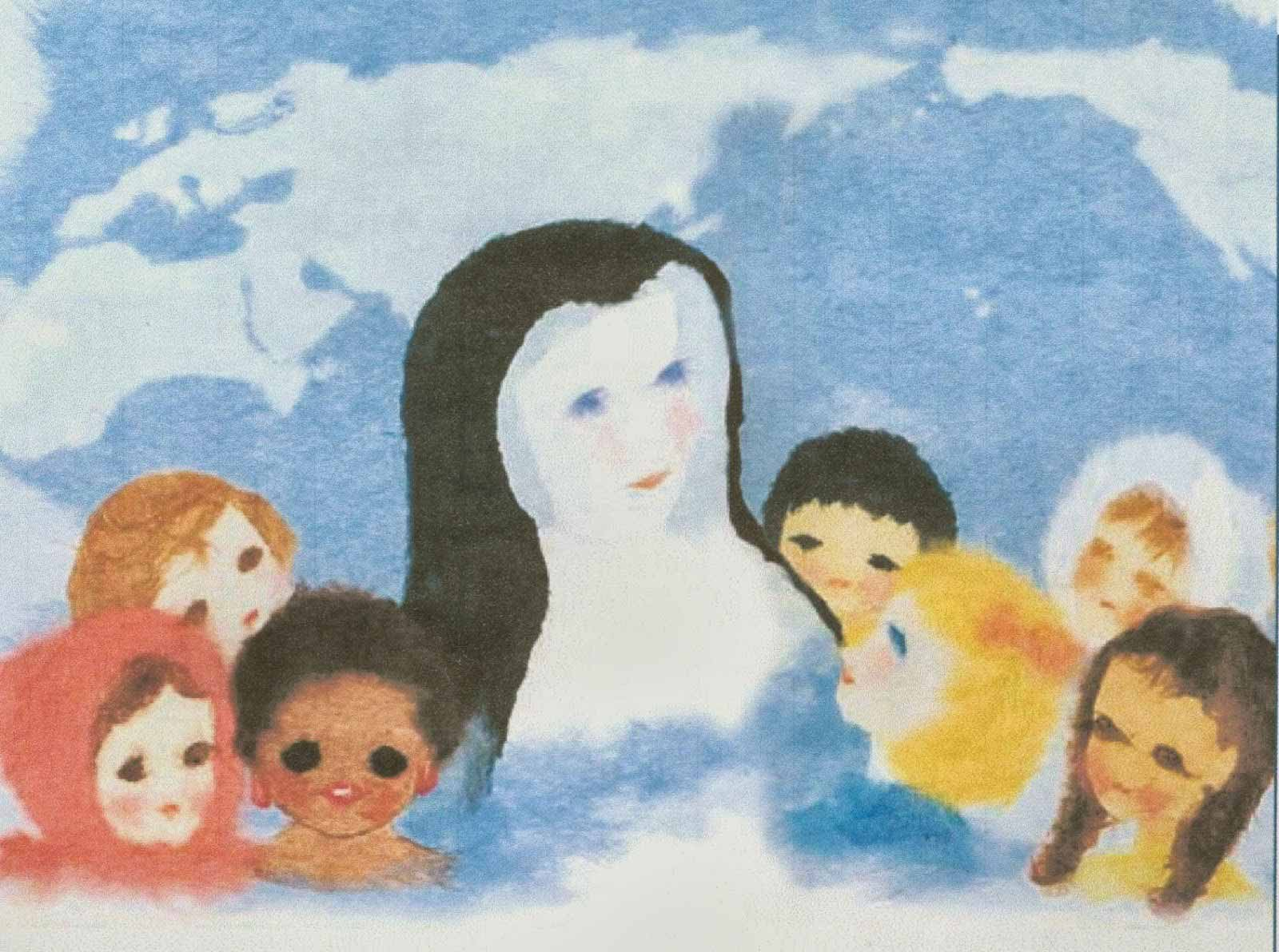 A child's painting of Blessed Theresa and children of the world.