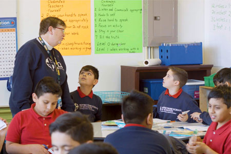 Sister Judy Fleisner interacts with students in class at Notre Dame School of Milwaukee.