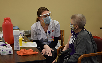 Sisters at Notre Dame of Elm Grove, Elm Grove, Wisconsin, recieve the COVID-19 vaccine.