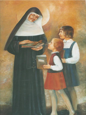 Blessed Theresa painting with two young students.