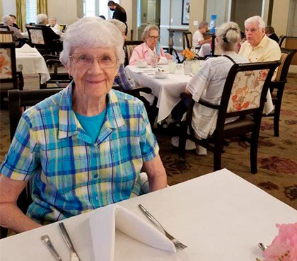 Current image of Sister Joan Schaefer at the retirment community at St. Anthony's Gardens in Covington, Louisiana.