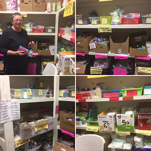 Associate Liz Swartz works in the Hygiene Room, which is full of supplies to provide to the immigrants who come through Casa in El Paso.