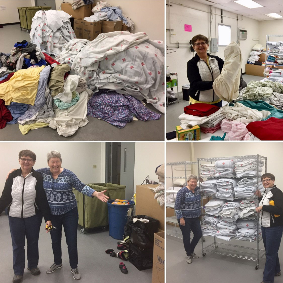Associate Mariellyn Kuske and Anne Carey folded clothes during their volunteer time at Casa in El Paso.