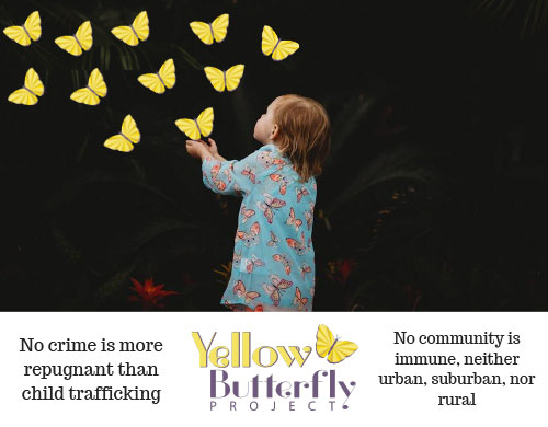 An image of a little girl and yellow butterflys with the Yellow Butterfly Project logo.