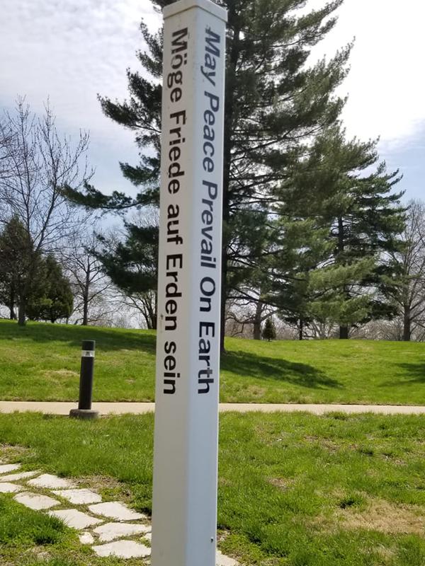 The Peace Pole located at Sancta Maria in Ripa, St. Louis.