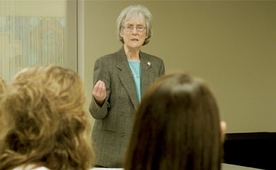Sister Joan Penzenstadler teaches a course on Blessed Theresa at Mount Mary University in Milwaukee.