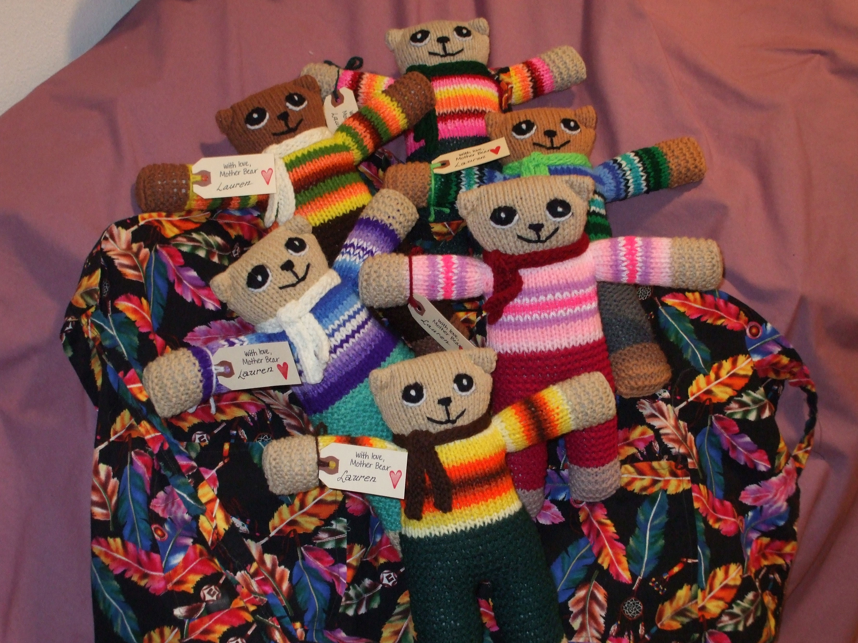 Bears created by Sister Lauren Spence for children in Africa.