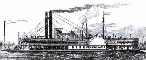 Artist's drawing of the PENNSYLVANIA (based upon the sister ship PHILADELPHIA) from the Dave Thomson collection.