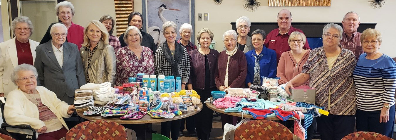 Sisters and associates in Baton Rouge, Louisiana, gathered hygiene products and clothes to support SSND immigration ministries along the southern border.