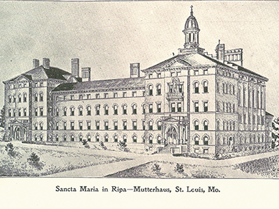Sancta Maria in Ripa in St. Louis was established in 1895, 125 years ago. This is the sketch of the motherhouse to be placed built on the property.